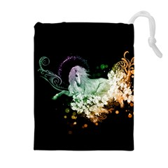 Wonderful Unicorn With Flowers Drawstring Pouches (extra Large) by FantasyWorld7