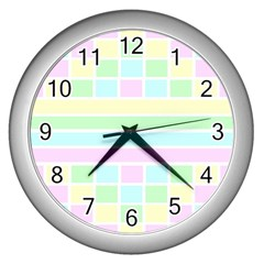 Geometric Pastel Design Baby Pale Wall Clocks (silver)