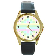 Geometric Pastel Design Baby Pale Round Gold Metal Watch