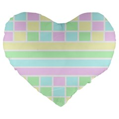 Geometric Pastel Design Baby Pale Large 19  Premium Heart Shape Cushions