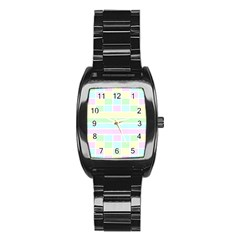 Geometric Pastel Design Baby Pale Stainless Steel Barrel Watch by Nexatart