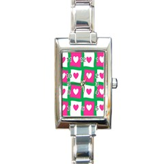 Pink Hearts Valentine Love Checks Rectangle Italian Charm Watch