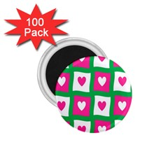 Pink Hearts Valentine Love Checks 1 75  Magnets (100 Pack)