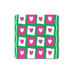 Pink Hearts Valentine Love Checks Square Magnet by Nexatart