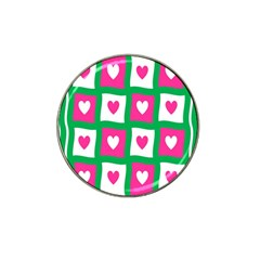 Pink Hearts Valentine Love Checks Hat Clip Ball Marker (4 Pack)