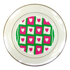 Pink Hearts Valentine Love Checks Porcelain Plates