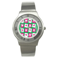 Pink Hearts Valentine Love Checks Stainless Steel Watch by Nexatart