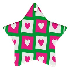Pink Hearts Valentine Love Checks Star Ornament (two Sides)