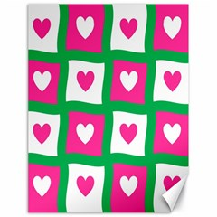 Pink Hearts Valentine Love Checks Canvas 18  X 24   by Nexatart
