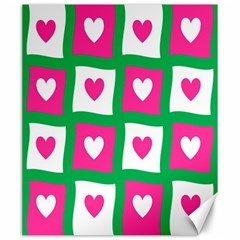 Pink Hearts Valentine Love Checks Canvas 20  X 24