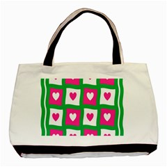 Pink Hearts Valentine Love Checks Basic Tote Bag (two Sides) by Nexatart