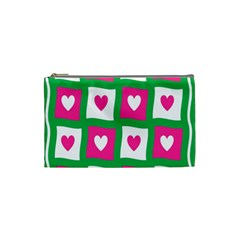 Pink Hearts Valentine Love Checks Cosmetic Bag (small)  by Nexatart