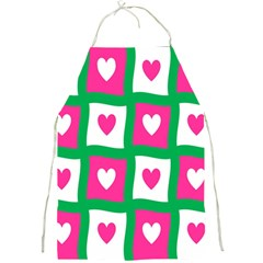 Pink Hearts Valentine Love Checks Full Print Aprons by Nexatart