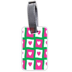 Pink Hearts Valentine Love Checks Luggage Tags (one Side)  by Nexatart