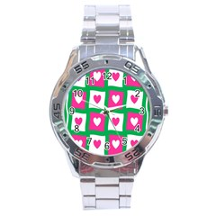 Pink Hearts Valentine Love Checks Stainless Steel Analogue Watch by Nexatart