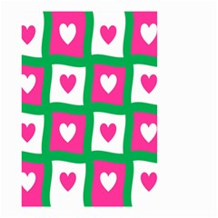 Pink Hearts Valentine Love Checks Small Garden Flag (two Sides)
