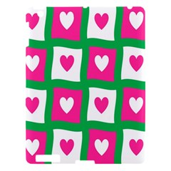 Pink Hearts Valentine Love Checks Apple Ipad 3/4 Hardshell Case by Nexatart