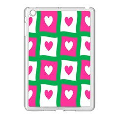 Pink Hearts Valentine Love Checks Apple Ipad Mini Case (white)