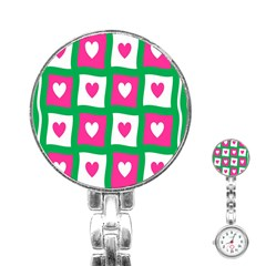 Pink Hearts Valentine Love Checks Stainless Steel Nurses Watch