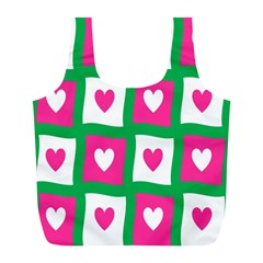 Pink Hearts Valentine Love Checks Full Print Recycle Bags (l)  by Nexatart