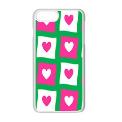 Pink Hearts Valentine Love Checks Apple Iphone 7 Plus Seamless Case (white) by Nexatart
