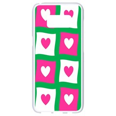 Pink Hearts Valentine Love Checks Samsung Galaxy S8 White Seamless Case by Nexatart