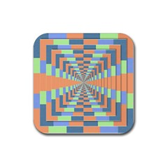 Fabric 3d Color Blocking Depth Rubber Square Coaster (4 Pack)  by Nexatart