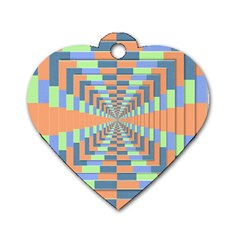 Fabric 3d Color Blocking Depth Dog Tag Heart (one Side)