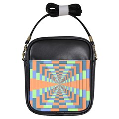 Fabric 3d Color Blocking Depth Girls Sling Bags