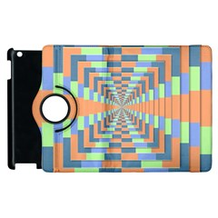 Fabric 3d Color Blocking Depth Apple Ipad 3/4 Flip 360 Case