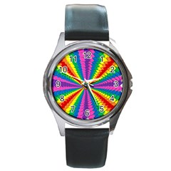 Rainbow Hearts 3d Depth Radiating Round Metal Watch