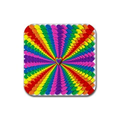 Rainbow Hearts 3d Depth Radiating Rubber Square Coaster (4 Pack)