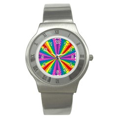 Rainbow Hearts 3d Depth Radiating Stainless Steel Watch