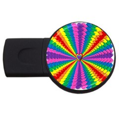 Rainbow Hearts 3d Depth Radiating Usb Flash Drive Round (4 Gb) by Nexatart