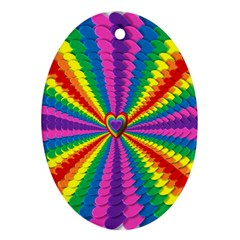 Rainbow Hearts 3d Depth Radiating Oval Ornament (two Sides) by Nexatart