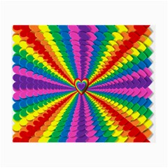 Rainbow Hearts 3d Depth Radiating Small Glasses Cloth (2 Side) by Nexatart