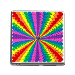 Rainbow Hearts 3d Depth Radiating Memory Card Reader (square)