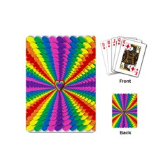 Rainbow Hearts 3d Depth Radiating Playing Cards (mini)