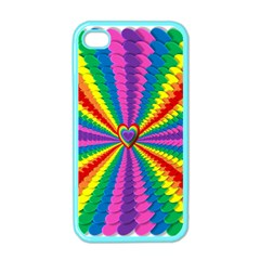 Rainbow Hearts 3d Depth Radiating Apple Iphone 4 Case (color)