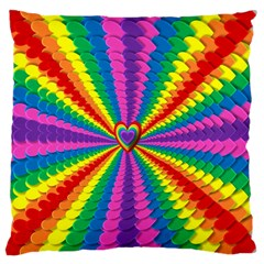 Rainbow Hearts 3d Depth Radiating Large Cushion Case (two Sides) by Nexatart