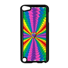 Rainbow Hearts 3d Depth Radiating Apple Ipod Touch 5 Case (black)