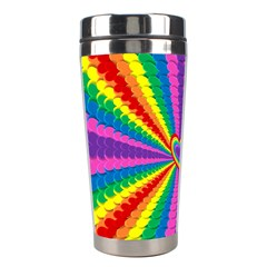 Rainbow Hearts 3d Depth Radiating Stainless Steel Travel Tumblers