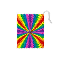 Rainbow Hearts 3d Depth Radiating Drawstring Pouches (small)