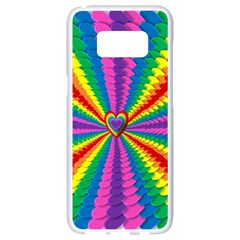 Rainbow Hearts 3d Depth Radiating Samsung Galaxy S8 White Seamless Case by Nexatart
