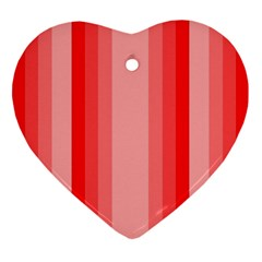 Red Monochrome Vertical Stripes Ornament (heart)