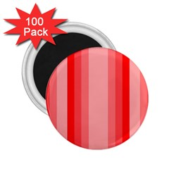 Red Monochrome Vertical Stripes 2 25  Magnets (100 Pack)