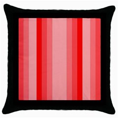 Red Monochrome Vertical Stripes Throw Pillow Case (black) by Nexatart