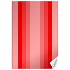 Red Monochrome Vertical Stripes Canvas 12  X 18   by Nexatart