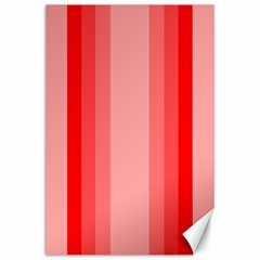 Red Monochrome Vertical Stripes Canvas 24  X 36