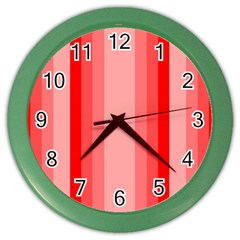 Red Monochrome Vertical Stripes Color Wall Clocks